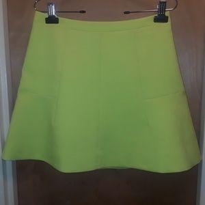 J. Crew neon yellow skater skirt